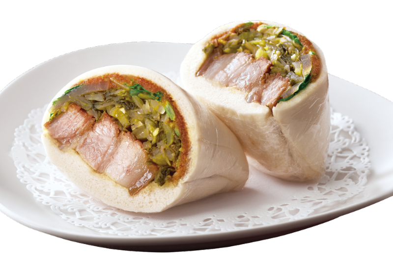 Steamed Bun with Pork Belly and Preserved Cabbage